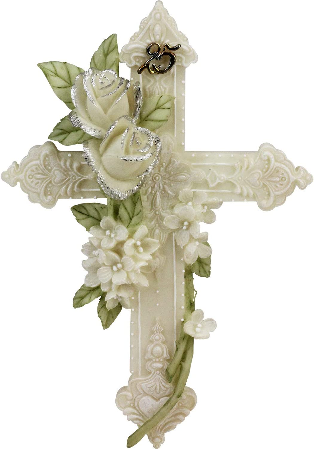 25th Silver Wedding Anniversary Floral Wall Cross Gift #60518