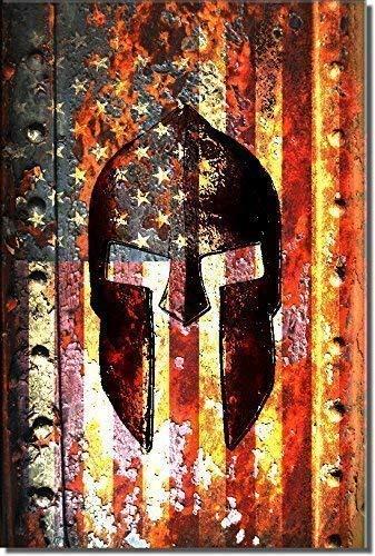 Molon Labe - American Flag & Spartan Helmet on Rusted Metal Door Vertical Print on Canvas - Patriotic Home Decor - Man Cave Decor - Pro Gun - Pro 2A Art Work and Prints