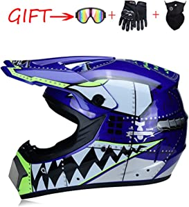 Motocross Helmet ATV Motorcycle Helmet SUV Mask + Goggles + Gloves,Personality Shark Teeth Dirt Bike Downhill Off-Road Mountain Bike Helmet 4-Piece Set Unisex,Blue,S