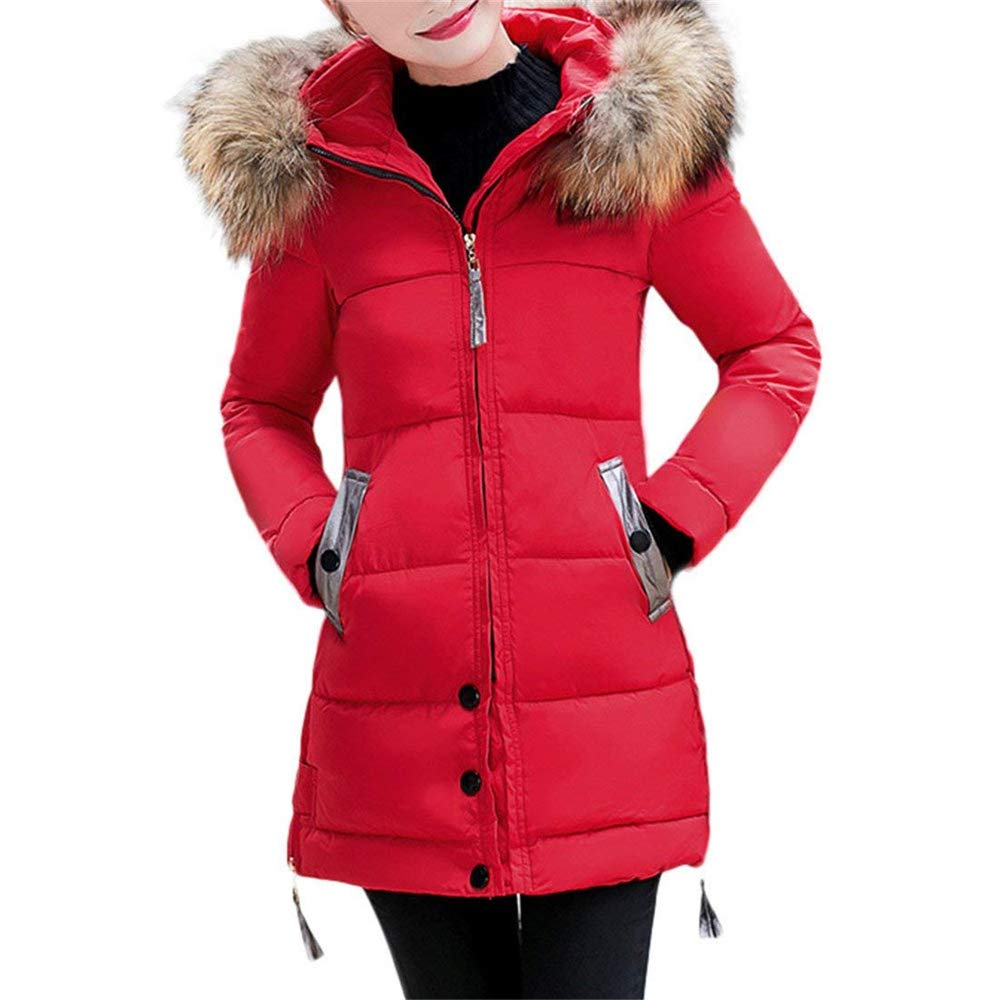 Red ALING Winter Coat Fashion Casual Long Sleeve Jacket Coat Hooded Outwear