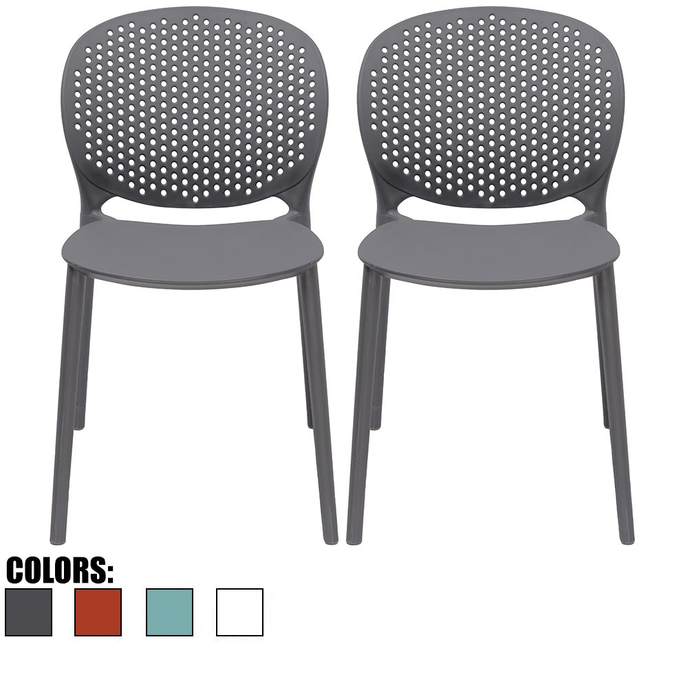 2xhome - Set of 2 - Black/Dark Grey Dining Room Chairs - Plastic Chair with Backs Designer Chair Modern Chair Indoor Outdoor Light weight Armless Chair - Matte Finish by 2xhome
