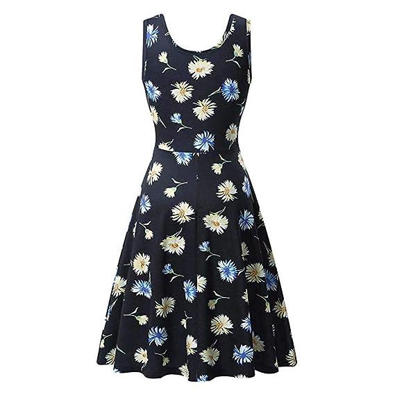 Amazon.com: YKARITIANNA Women Sleeveless Printing Summer Beach A Line Casual Dress Floral Dress