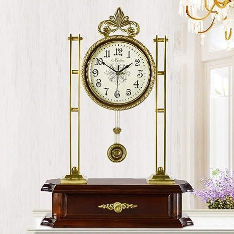 irugh Relojes de Chimenea,Salón Bronce Mudo oscilante Reloj Cuarzo Antiguo Reloj Lujo Reloj de