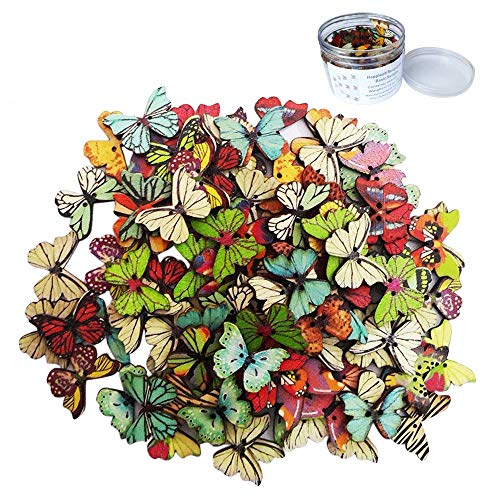 Happlee 100Pcs Mixed Butterfly Wooden Buttons in Bulk, Carto