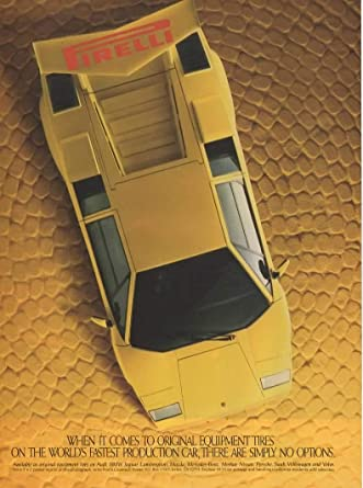 Amazon Com Magazine Print Ad Yellow 1985 86 Lamborghini Countach