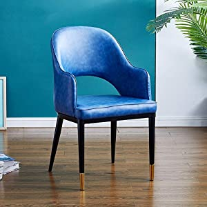 Yoosc Chair Bar Stool Nordic Light Luxury Dining Chair Fabric Reception Conference Chair Outstanding Design Home Office Kitchen Lounge Dining Room Chair Metal Legs with Leather Seat (Color : Blue)