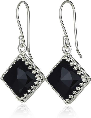 Sterling Silver Rhinestone Earrings Black Onyx Teardrop Earrings Gift For Her Sterling Silver Onyx Earrings Flower Post Earrings