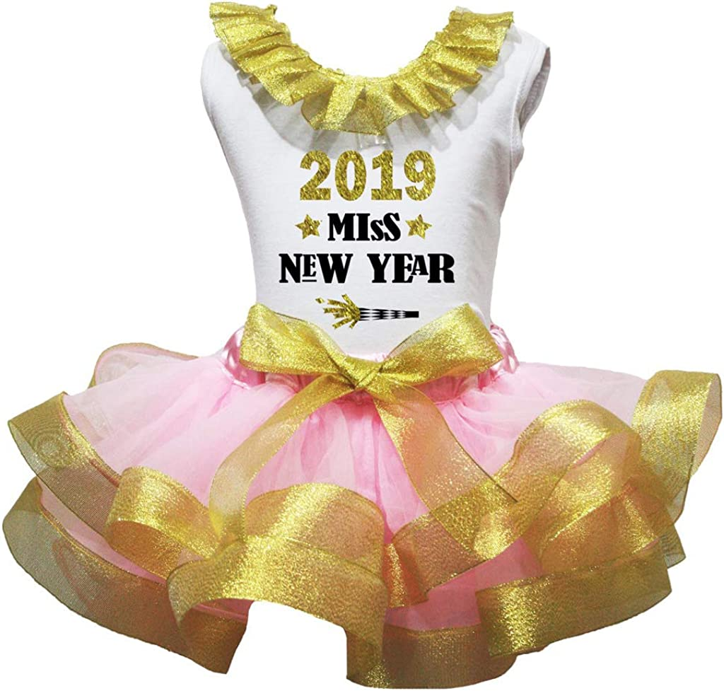 Petitebella 2019 Miss New Year White Shirt Petal Skirt Girl Outfit Nb-8y