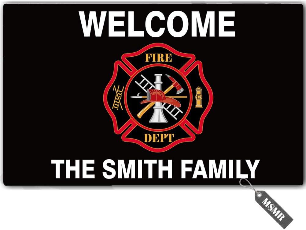 MsMr Personalized [Your Name] Door Mat Indoor Outdoor Custom Doormat Decorative Home Office Welcome Mat Welcome Fire Dept Doormat 30