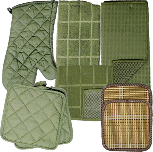 Kitchen Linens Bundle of 8 Items - Matching Kitchen Towel, Oven Mitt, Pot Holders,Dish Cloths, Dish Drying Mat and Bonus Bamboo Hot Pads (Olive) (Olive Pots)