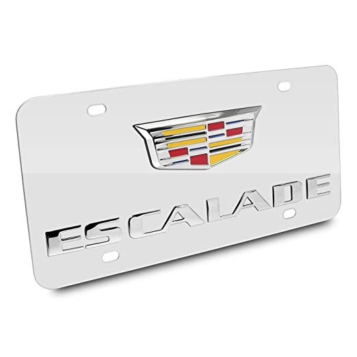 CarBeyondStore Cadillac Escalade Crest 3D Logo Chrome Stainless Steel Auto  License Plate