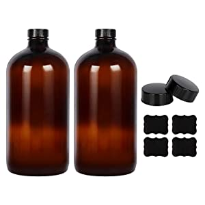 2 Pack - 1 Liter 32 oz Amber Glass Boston Round Bottles with Air Tight Seal Phenolic Poly Cone Caps. Perfect Glass Containers for Secondary Fermentation,Storing Kombucha,Brewing and Juicing.