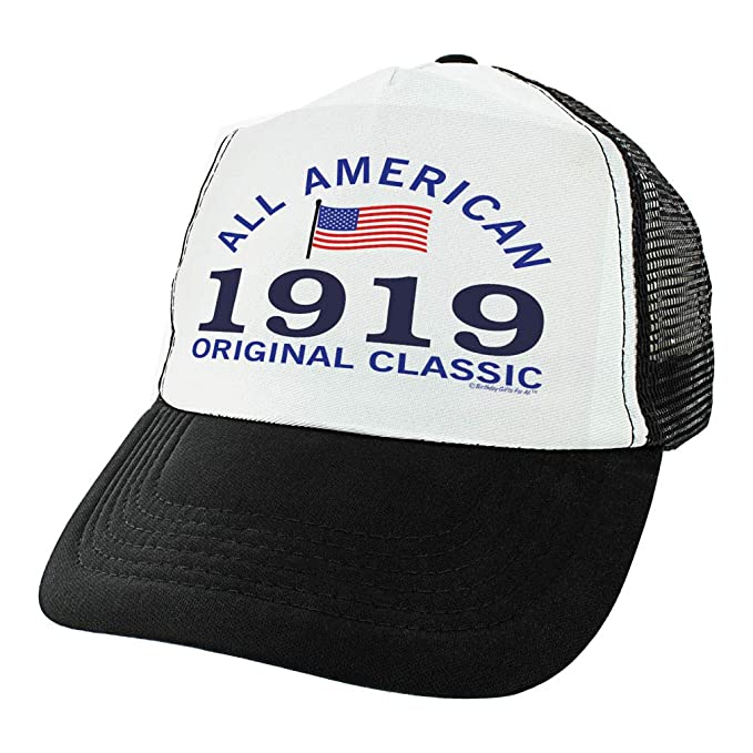 100th Birthday Gifts All American 1919 Original Classic Hat Turning 100 Party Trucker Black