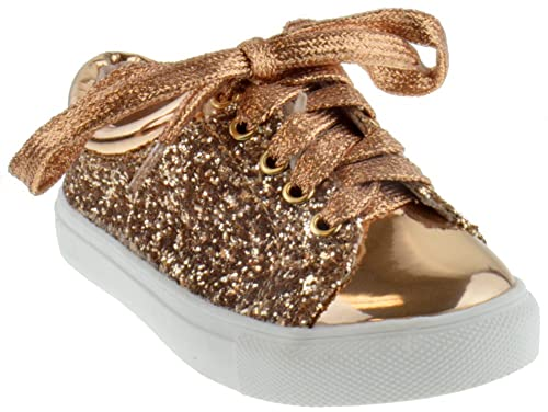 eba483f0b97 Sparkle 25k Little Girls Lace Up Patent Glitter Sneakers