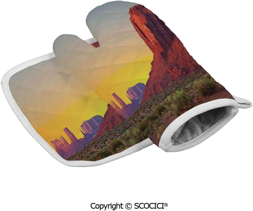 SCOCICI Oven Mitts Glove - Sunset in Famous Grand Canyon Archaic Natural Wonders of World Heritage Heat Resistant, Handle Hot Oven Cooking Items Safely