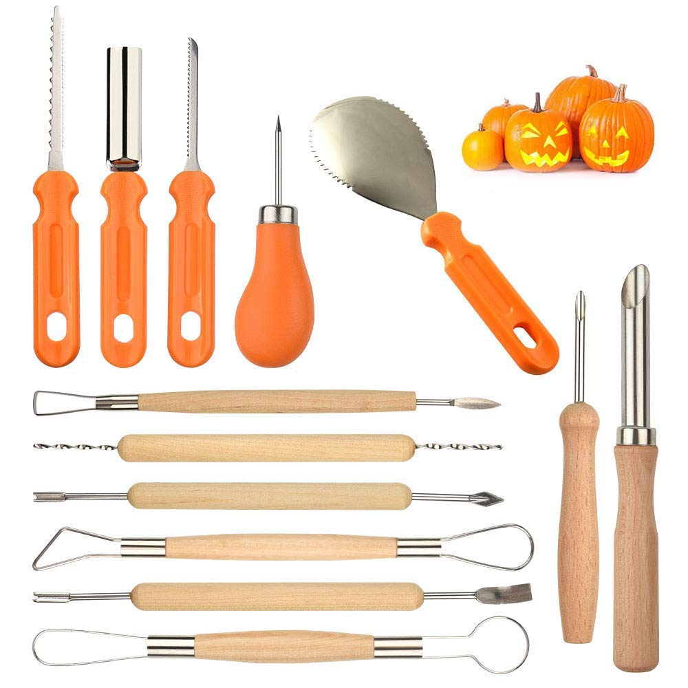 Fulery  Halloween Pumpkin Carving Kit, 13 Pieces Heavy Duty Stainless Steel Pumpkin Carving Tools Kit - Professional DIY Halloween Pumpkin Carving Sets for Jack-O-Lantern Halloween Decoration by Fulery