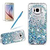 Transparent Liquid Case For Samsung Galaxy S8, Girlyard Silicone Bling Glitter Back Case Cover Leaves Flowing Moving Sparkle Protective Case Cover Dual Layers Ultra Clear Soft Bumper Colorful Hard Case Cover, Blue