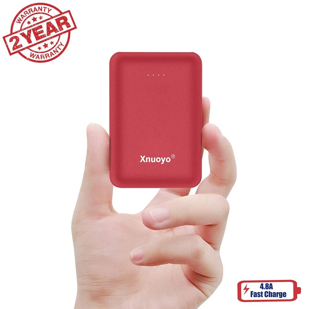 Xnuoyo Mini Port/átil Power Banks 10000mAh Bater/ía Externa con el Tipo-C Entrada Power Bank Compatible con Tel/éfonos Inteligentes Rojo