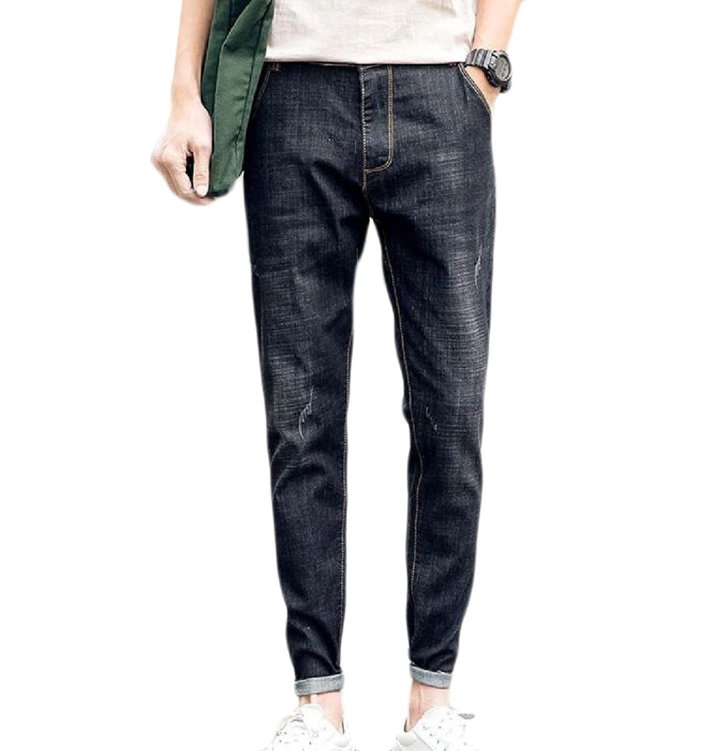 XiaoTianXin-men clothes XTX Men Skinny Stretchy Ripped Hole Distressed Classic Jeans Long Pants