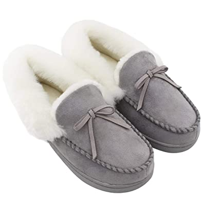 29ef60278be53 HomeIdeas Ladies' Faux Fur Lined Suede Comfort House Slippers, Anti-Slip  Autumn Winter