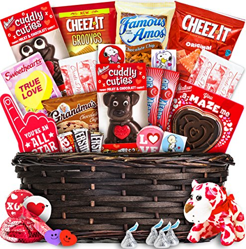 Valentine's Day Gift Basket (30 Count) - Chocolates, Candy, Hearts - College Variety Bundle - Gift Assortment