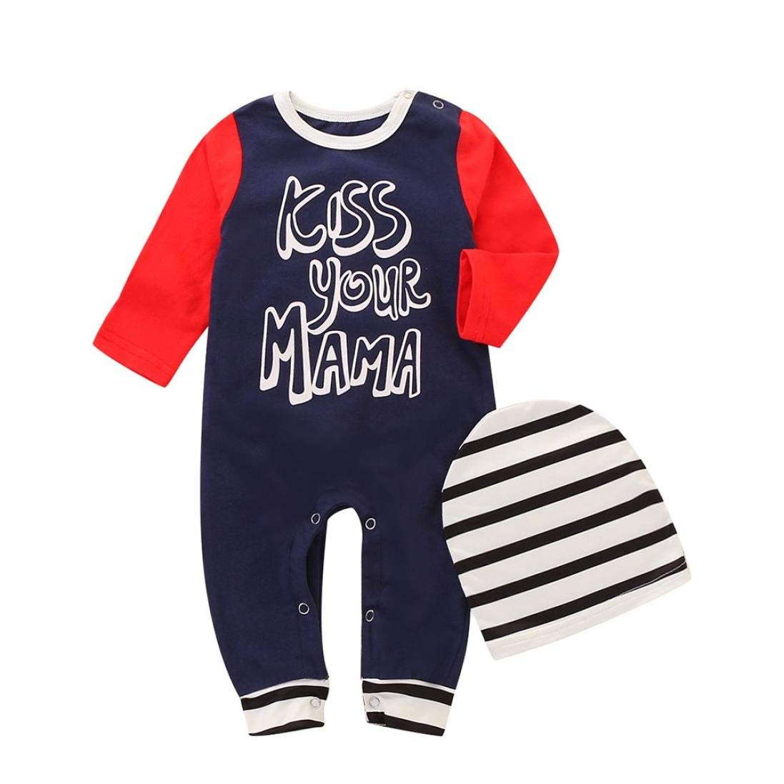 Zerototens Newborn Clothes Toddler Infant Baby Boys Girls Long Sleeve Letter Print Patchwork Romper Jumpsuit and Hat Autumn Winter Casual Outfit Clothes 0-2 Years Old