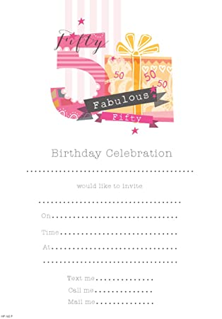 Birthday Invitations Female 50th Birthday (Pack of 20 Sheets)