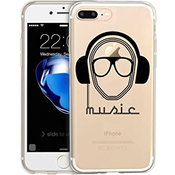 Funda carcasa TPU Transparente para iPhone 8 Plus diseño estampado DJ music con cascos