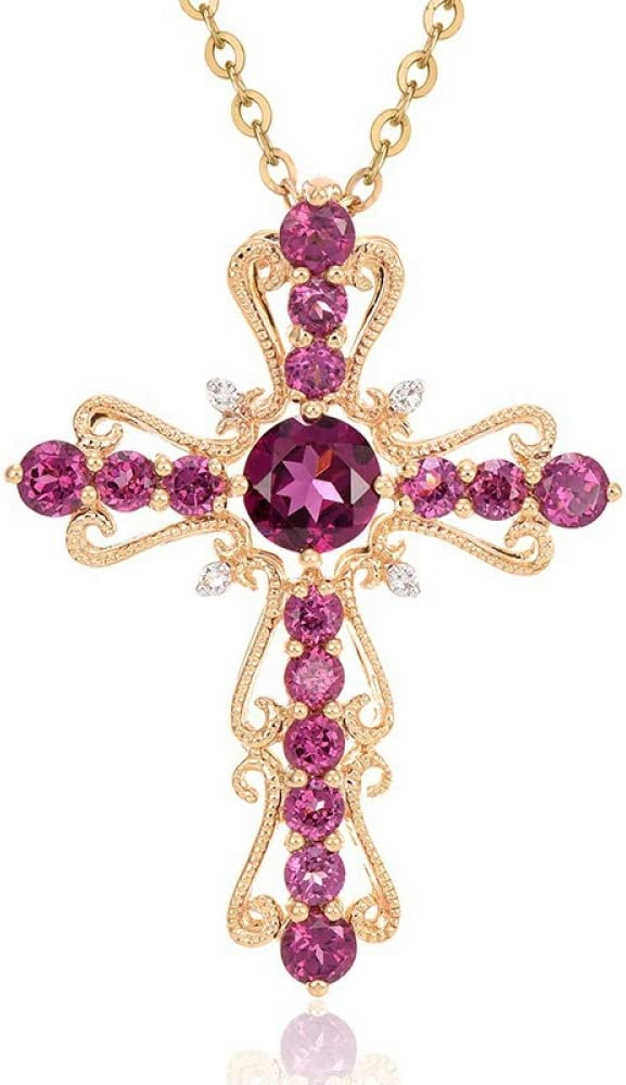 XIAOHNNL Colgantes de Diamantes de rubí con Collar de Oro de 14 Quilates para Mujeres Colgante de rubíes de Piedras Preciosas de topacio Puro Collares de Diamantes de 14 Quilates |