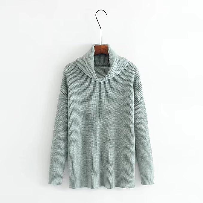 MEI&S La mujer holgada tejida cuello redondo Top Pullover Sweater ...