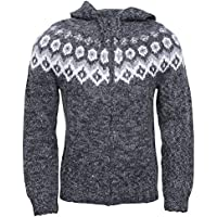 ICEWEAR Ragnar 100% Icelandic wool hand knitted Jumper with Zipper and Hood