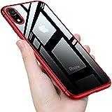 iPhone XR ケース クリア tpuバンパー PC背面 透明 シリコン ー スリム 薄型 6.1インチ スマホケース 耐衝撃 ストラップホール 黄変防止 アイフォンxrケース 一体型 人気 携帯カバー レッド