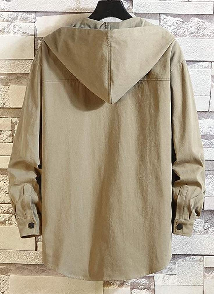 Joe Wenko Mens Plus Size Button Front Casual Pocket Hooded Drawstring Shirts