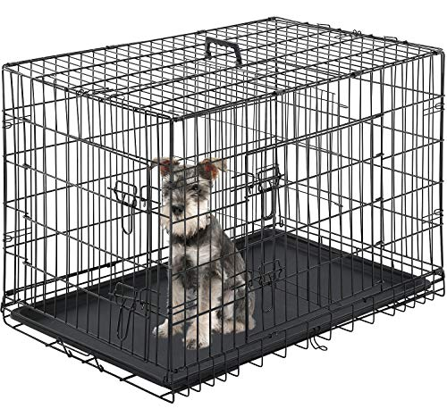 Vnewone Large Dog Crate Dog Cage Medium Dog Kennel Animal Pet Crate Pet Cage Metal Wire Double Door Folding Fully Equipped Outdoor Indoor with Plastic Tray and Handle