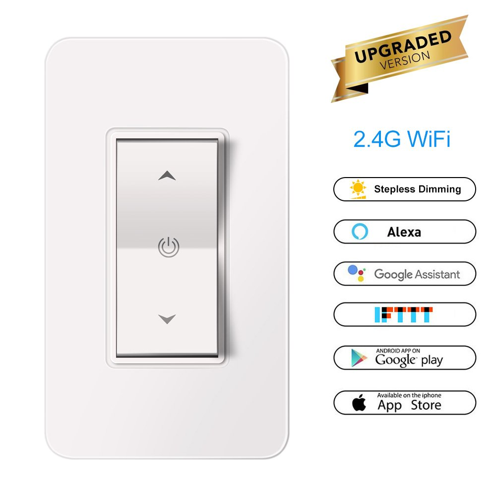 Smart Light Switch,Abedoe WiFi Wall Wireless Buttons Switch with Stepless Dimming, Phone Remote Control Dimmer No Hub Required, Compatible with Alexa and Google Home (Neutral Wire Required)