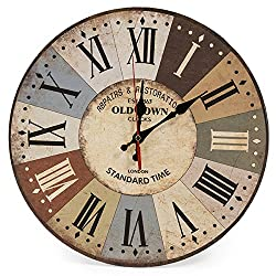 LOHAS Home 12 Inch Retro Wooden Wall Clock Farmhouse Decor, Silent Non Ticking Wall Clocks Large Decorative - Quality Quartz Battery Operated - Antique Vintage Rustic Colorful Tuscan Country Style