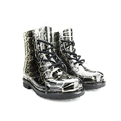 Women's Ankle Flat Grey Leopard Transparent Clear Jelly Martin Rain Boots