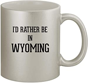 I'd Rather Be In WYOMING - 11oz Silver Coffee Mug Cup, Silver