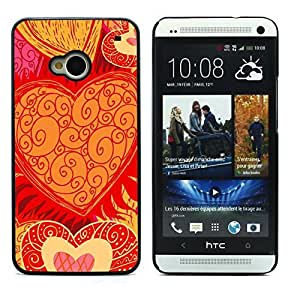 Graphic4You Art Hearts Design Hard Case Cover for HTC One (M7)