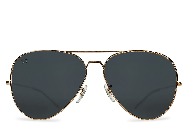 9ab13345c44 Amazon.com  Shady Rays Aviator Elite Polarized Metal Sunglasses Black Gold-  Small  Clothing