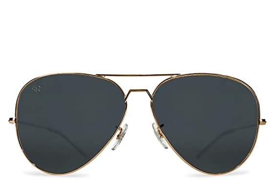 Shady Rays Aviator Elite Polarized Metal Sunglasses Black Gold- Small
