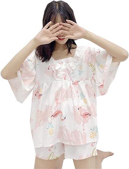 Pijama Mujer Estampadas Dos Piezas Manga Corta Cuello Redondo Anchos Camisas Elastische Taille Casual Shorts Ropa (Color : White 1, Size : One Size): Amazon.es: Ropa y accesorios