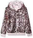 GUESS Girls' Big Long Sleeve Sequin Zip UP Hoodie, high Risk Pink, 10