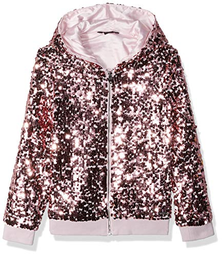 GUESS Girls' Big Long Sleeve Sequin Zip UP Hoodie, high Risk Pink, 14 (Guess Zip Up Jacket)