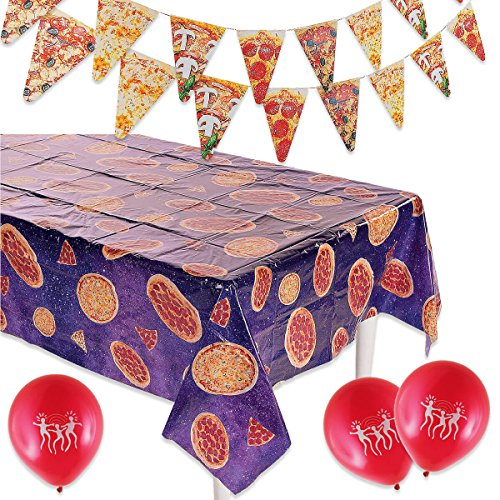 Pizza Party Decorations | Pizza Tablecloth, Pizza Banner and Red Balloons]()