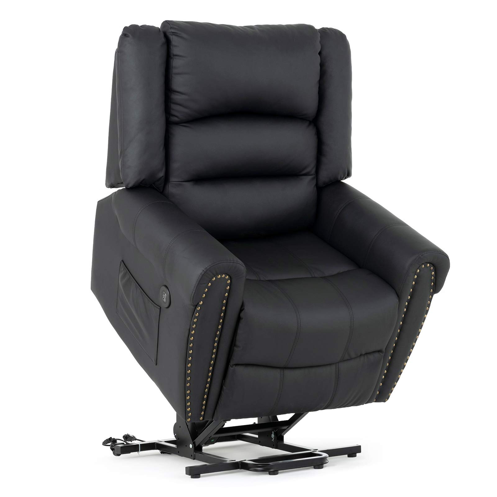 Mecor Power Lift Chair,Lift Recliners for Elderly,Reclining Lift Chairs with Dual Motor,Pu Leather Sleeper Recliner Chair with Massage/Heat/Vibration/Remote Control for Living Room. (Black) by mecor