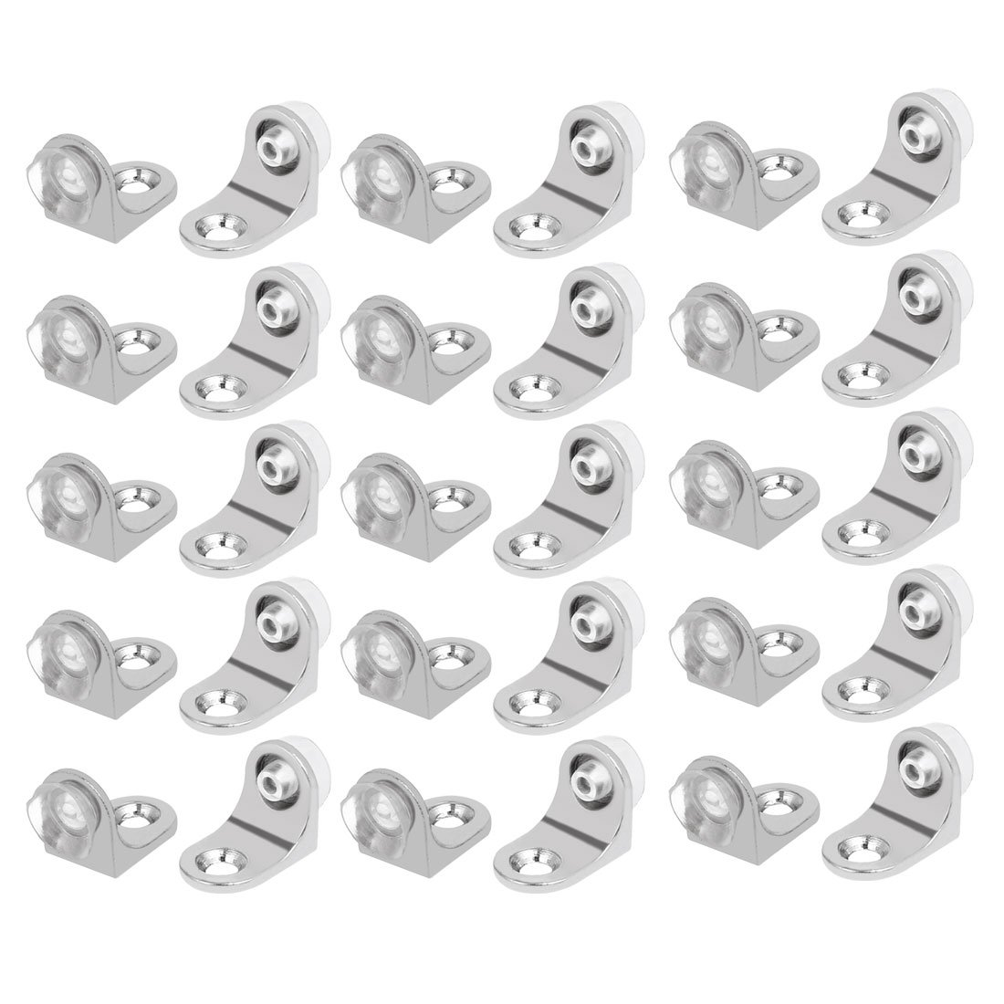 uxcell Stainless Steel 90 Degree Angle Glass Shelf Support Fixing Clip Bracket 30pcs
