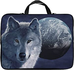 Britimes Laptop Case 14 15 15.6 inch, Cool Wolf Face Moon Night Horror Evil Beast Mystical Sky Spooky Wildlife Neoprene PC Computer Sleeve Waterproof Notebook Handle Carrying Bag