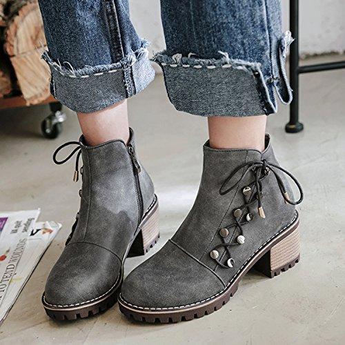 ... YE Damen Chunky Heels Ankle Boots Stiefeletten High Heels mit  Reißverschluss und Nieten Schnürung Blockabsatz 6cm 6ce01a3111