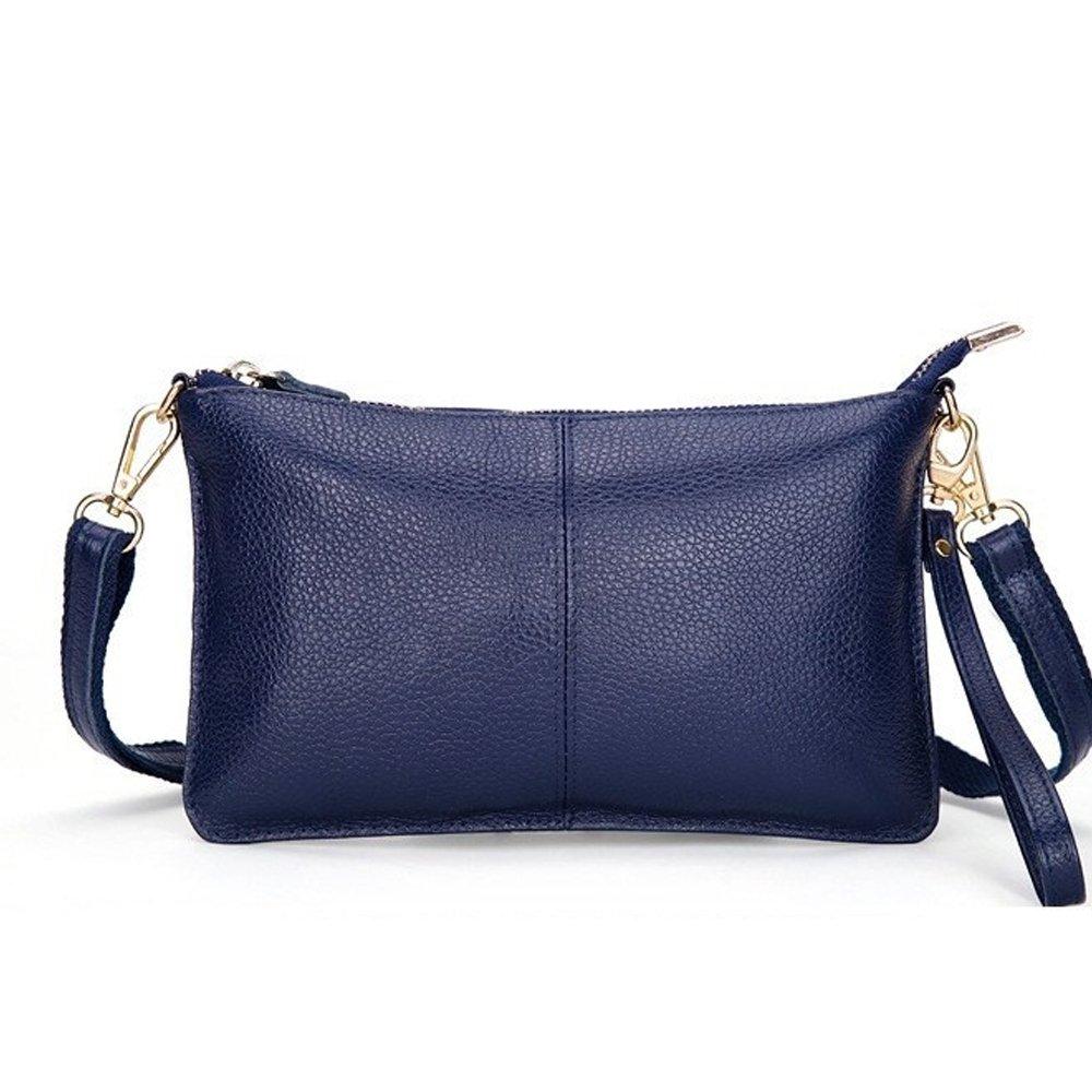 Mynos Genuine Leather Vintage Small Women Crossbody Bag Clutch Purse Wristlet (Blue)